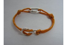 Climbing Rope Bracelet with Locking Carabiner and Figure Eight made in Sterling Silver (.925)
