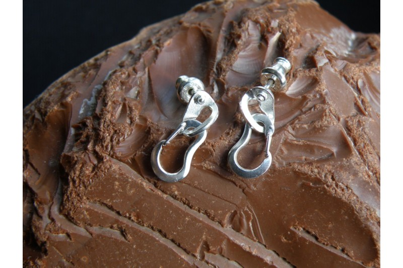 Climbing Bolt Hanger Earrings with Two Climbing Carabiners